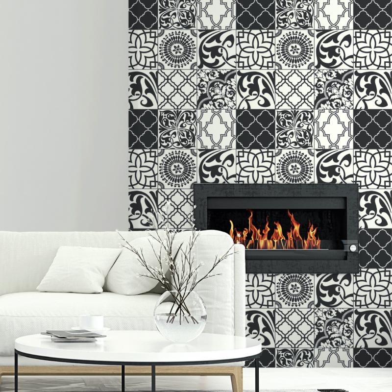 Papier peint adhésif Carreaux Graphiques noir et blanc - LES ADHESIFS - Lutèce - NW30300