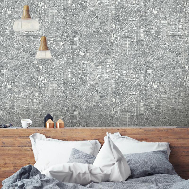 Papier peint adhésif Empire noir et blanc - LES ADHESIFS - Lutèce - RMK10836