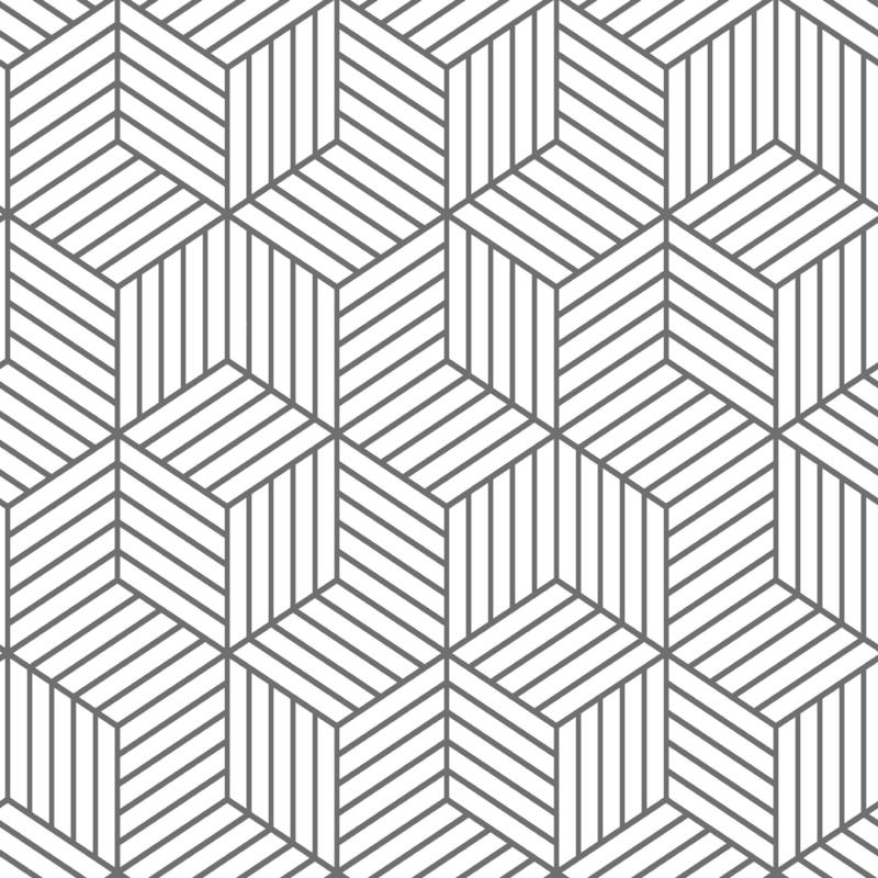 Papier peint adhésif Hexagone blanc et gris - LES ADHESIFS - Lutèce - RMK10705