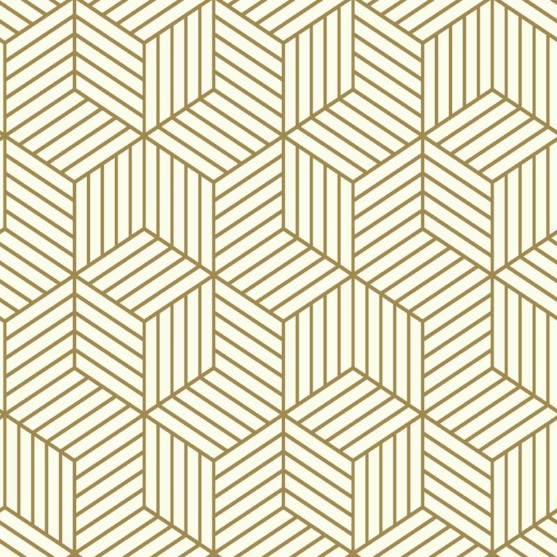 Papier peint adhésif Hexagone blanc et or - LES ADHESIFS - Lutèce - RMK10704