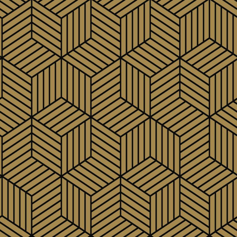 Papier peint adhésif Hexagone noir et or - LES ADHESIFS - Lutèce - RMK10707