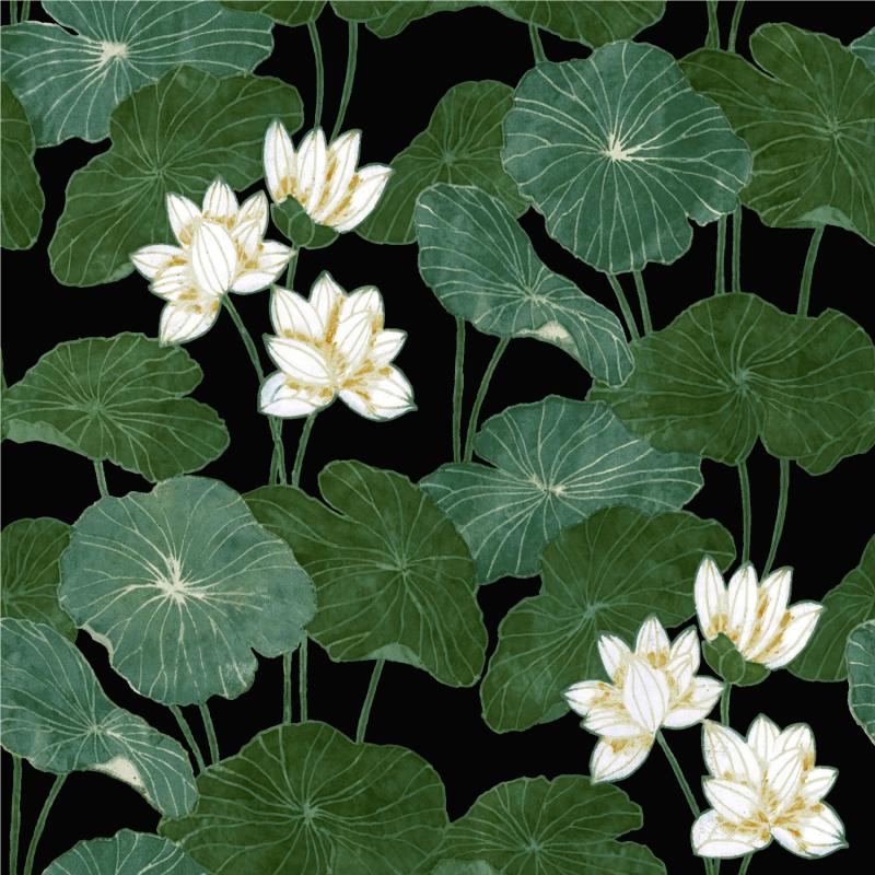 Papier peint adhésif Lily Pad noir - LES ADHESIFS - Lutèce - RMK11433