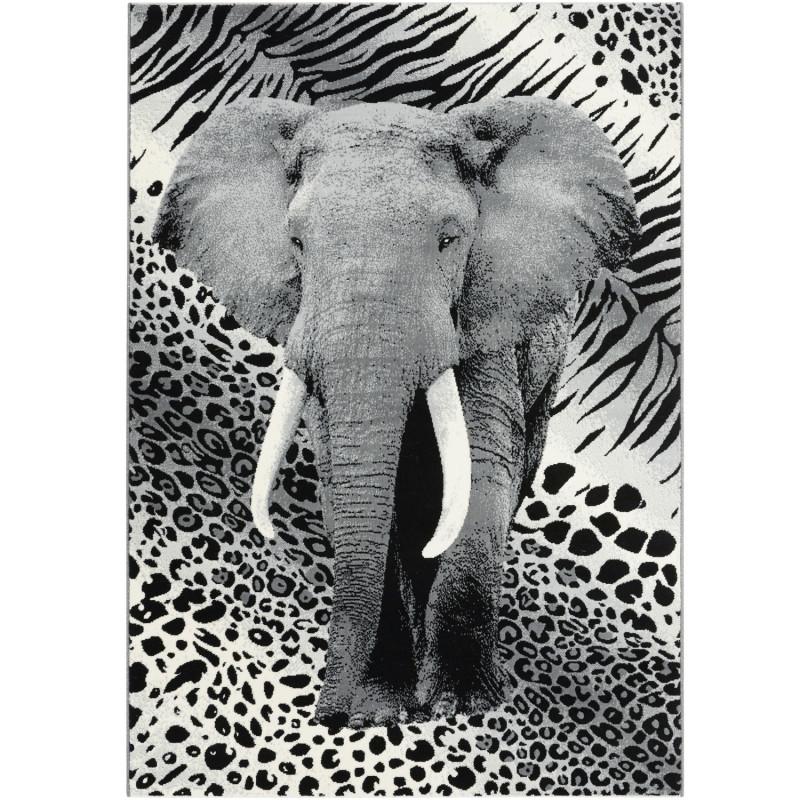 """Tapis velours ras """"Elephant gris noir"""" - Flash BALTA 120x170"""