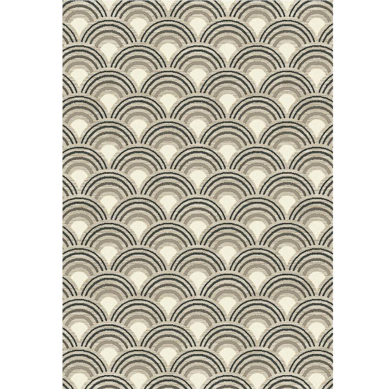 Tapis corde et poil ras Art Deco gris et beige - 120x170cm - FLOW