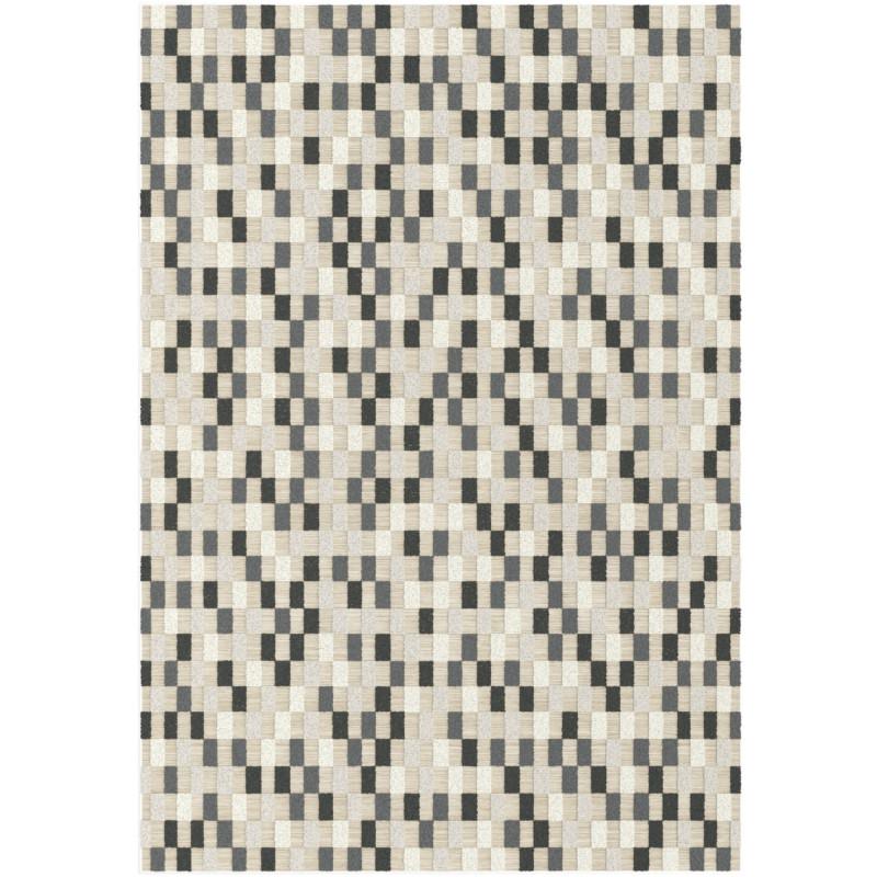 Tapis corde et poil ras Damier rectangles gris et beige - 160x230cm - FLOW