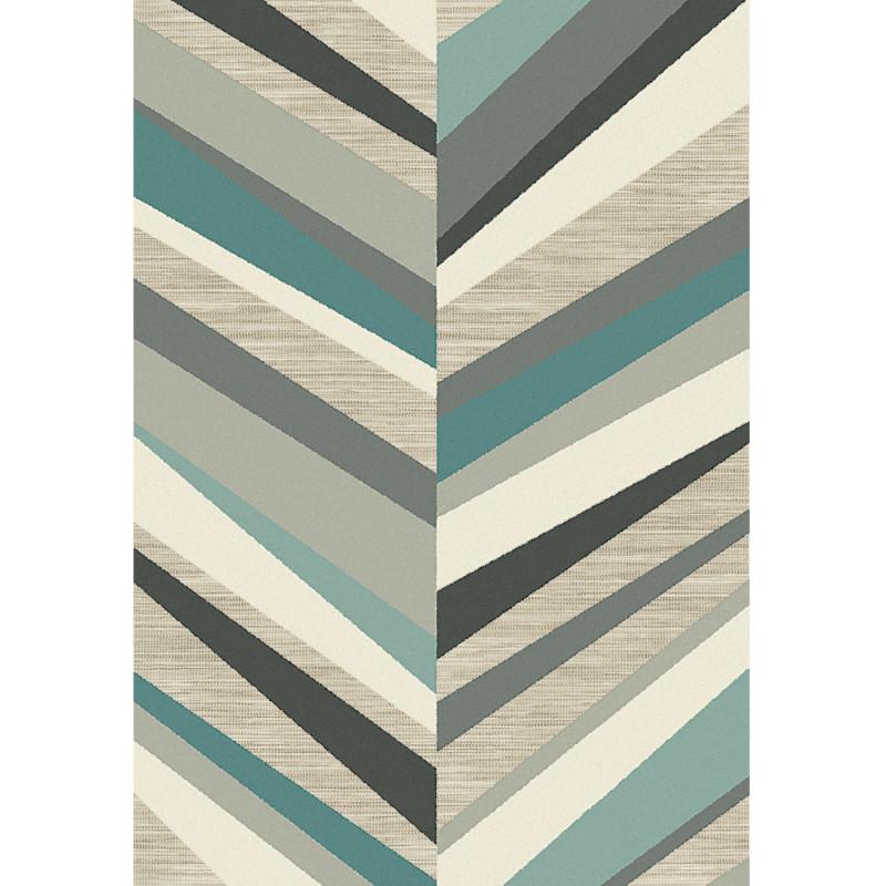 Tapis corde et poil ras Chevron gris et bleu - 160x230cm - FLOW