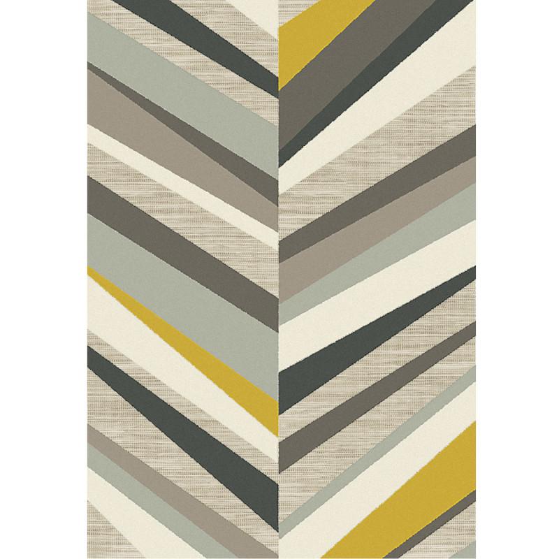 Tapis corde et poil ras Chevron gris et jaune - 160x230cm - FLOW