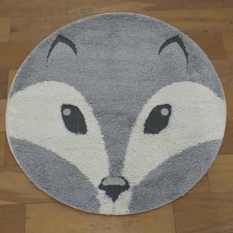 Tapis rond tête de renard écru et gris clair - Diamètre 120cm - RICHIE