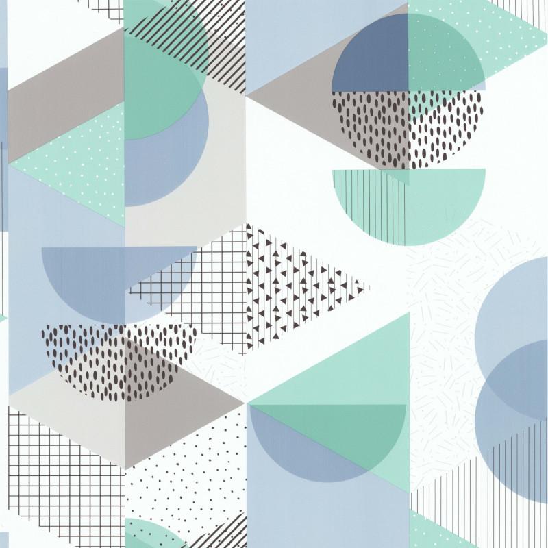 Papier peint Gommette bleu et vert - Les Aventures - Lutèce - 51171801
