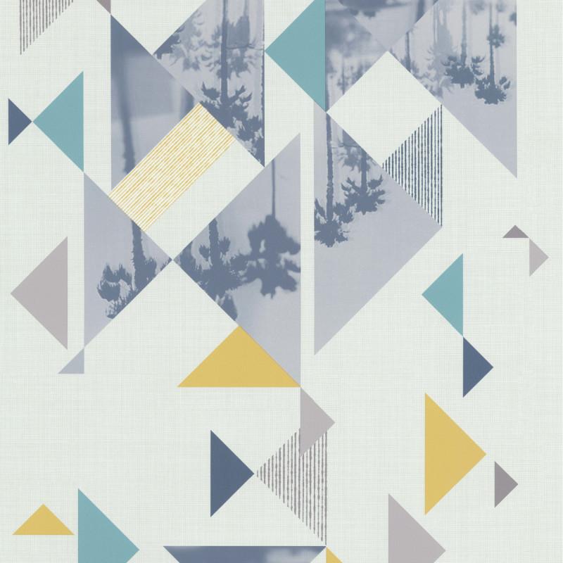 Papier peint Palm Spring bleu jaune - Les Aventures - Lutèce - 51165001