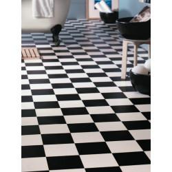 Revêtement PVC - Largeur 4m - Alicante 599 damier noir et blanc - LUNA IVC