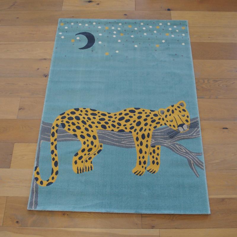 """Tapis enfant """"Leopard endormi jaune et bleu"""" - Canvas BALTA 120x170"""