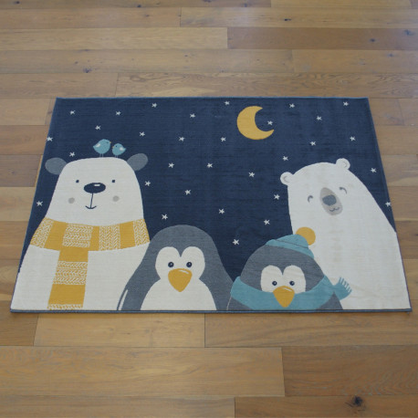 "Tapis enfant ""Winter Family bleu nuit"" - Canvas BALTA 120x170"