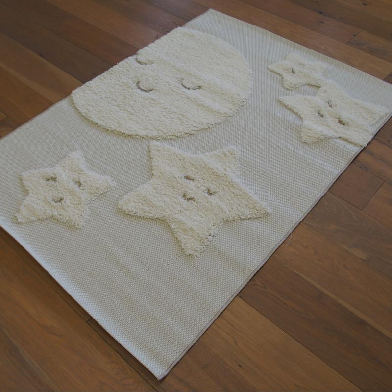 Tapis Lune et ses Etoiles écru et beige - 120x170cm - RITUAL KIDS