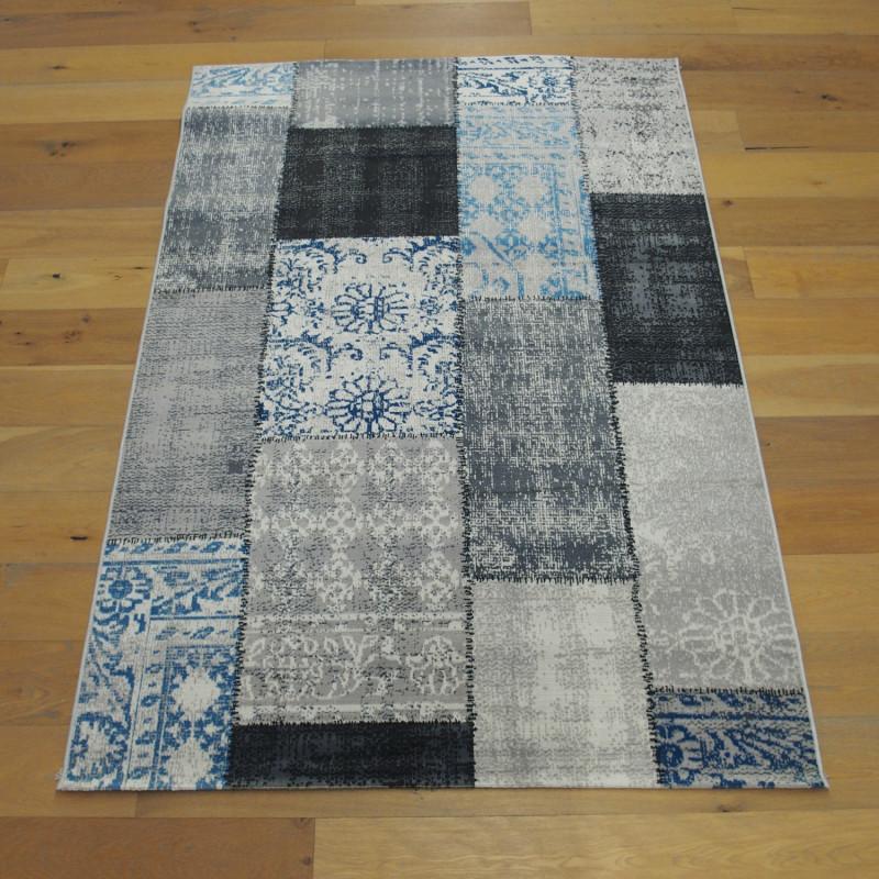 Tapis patchwork gris et bleu - 160x230cm - VINTAGE Balta