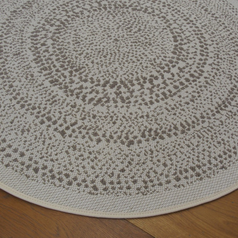 Tapis rond tissé en corde Moucheté beige - 120cm - ESSENZA