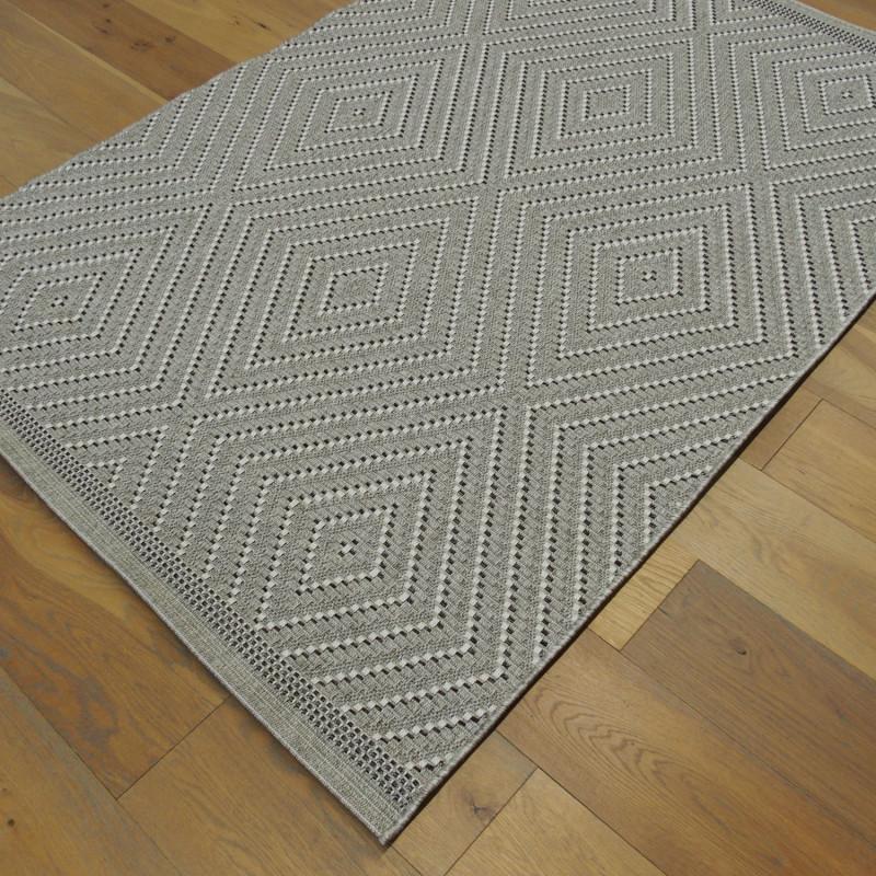 Tapis corde losanges gris - Grace BALTA - 140x200