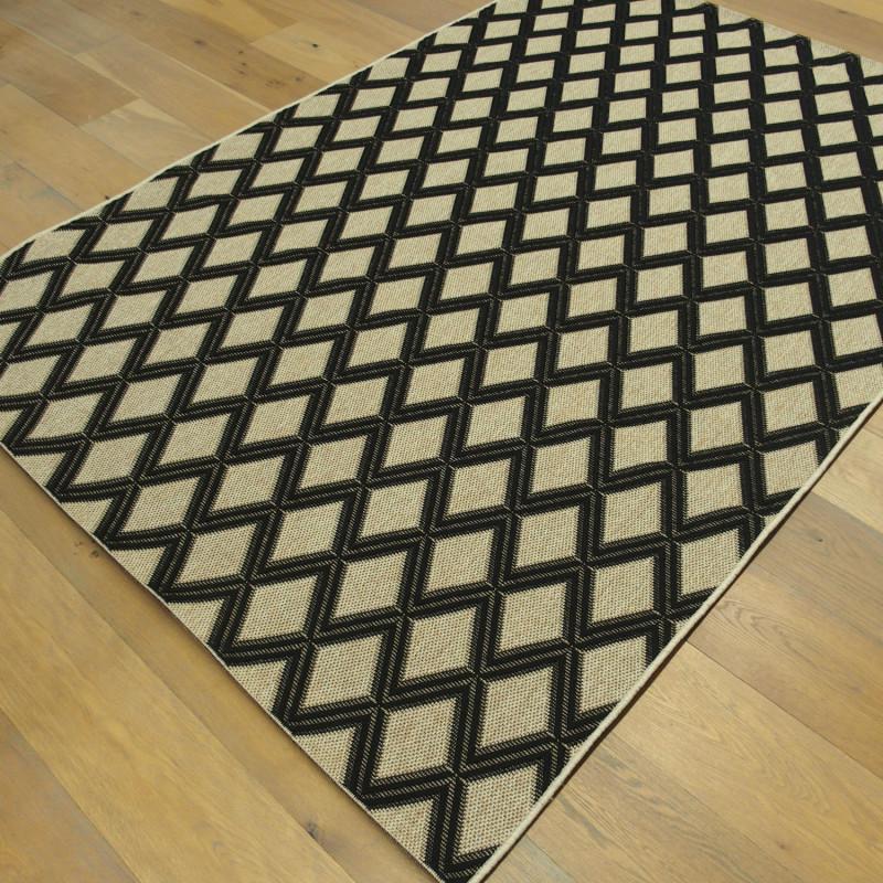 Tapis corde losanges noirs, fond naturel - Grace BALTA - 160x230