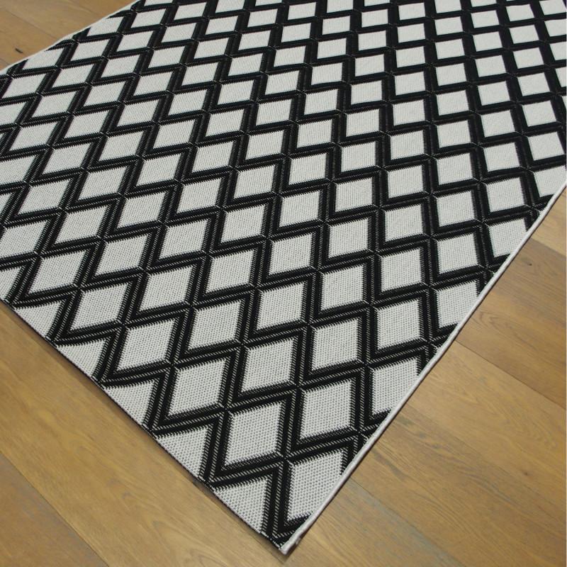 Tapis corde losanges noirs, fond blanc - Grace BALTA - 160x230
