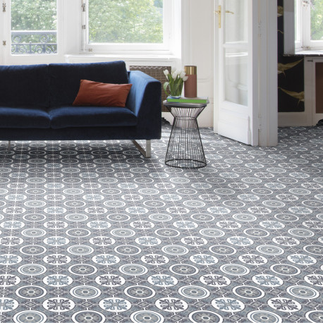 Sol PVC - Lagos 909M carreaux de ciment bleu gris - Optima Feelings BEAUFLOR - rouleau 3M