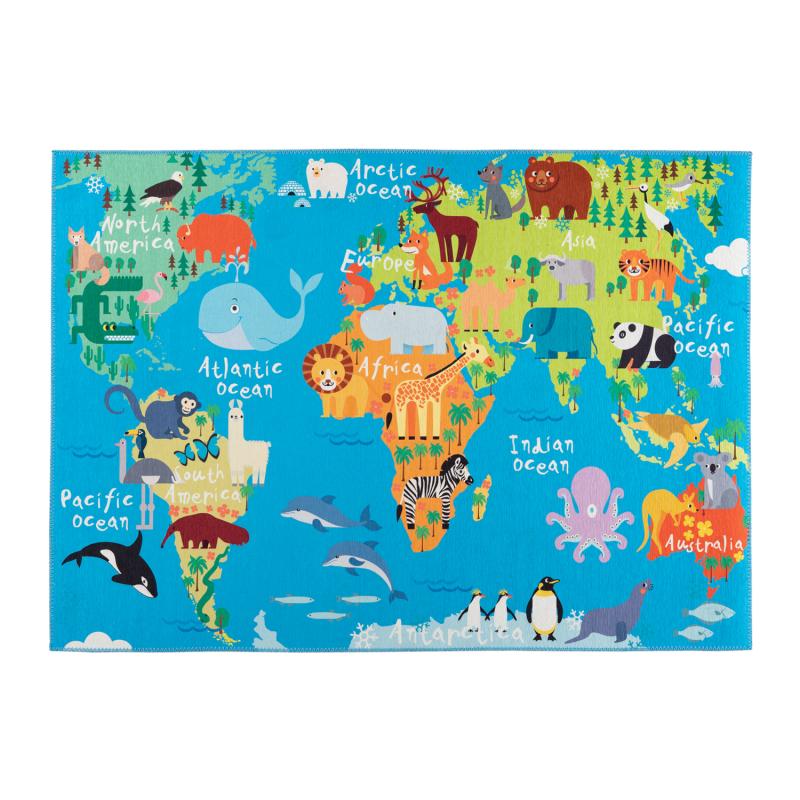 Tapis enfant Torino Kids world map - 120x170 - Obsession - tok 231 world map