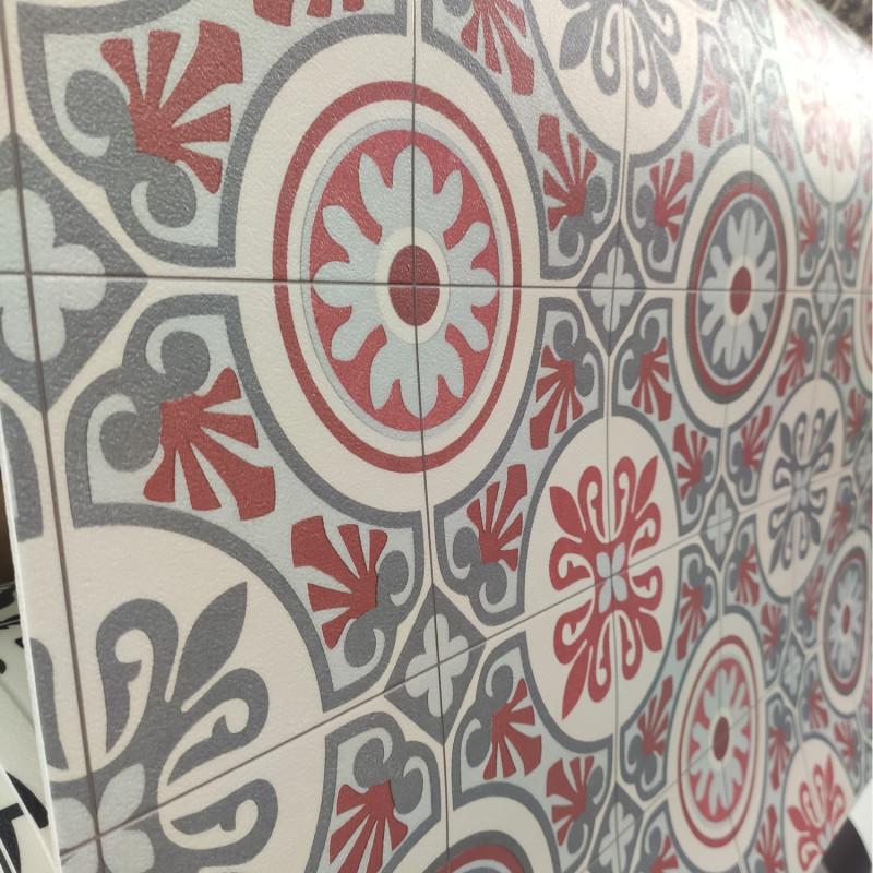 Sol PVC - Lagos 491M carreaux de ciment rouge - Plaza BEAUFLOR - rouleau 4M