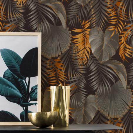 Papier peint intissé JUNGLE OR gris et doré - Rasch 462043