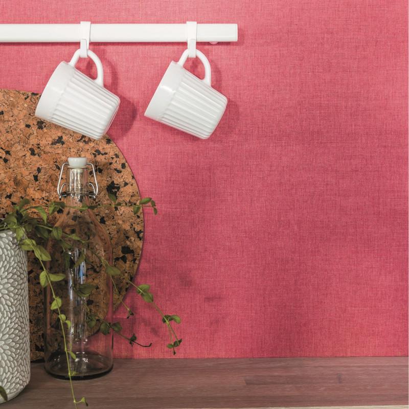 Papier peint Linen Uni rose framboise - LINEN - Caselio - INN68524340