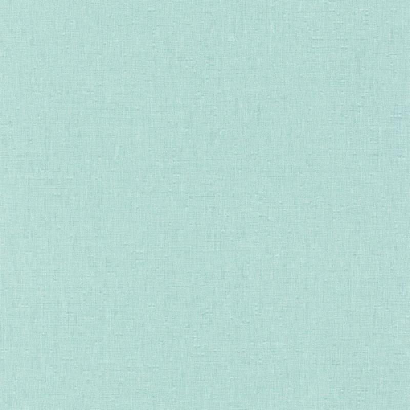 Papier peint Linen Uni bleu turquoise clair - LINEN - Caselio- INN68526509