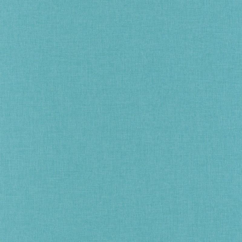 Papier peint Linen Uni bleu turquoise moyen - LINEN - Caselio - INN68526623