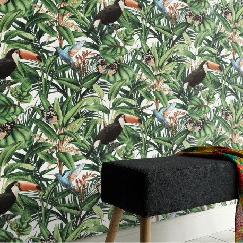 Papier peint Jungle Toucans vert - Paradisio 2 Erismann - 10121-07