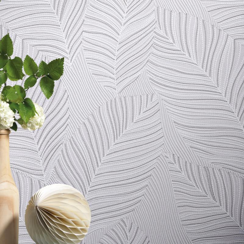 Papier peint Palmes gris et blanc - Paradisio 2 Erismann - 10125-31