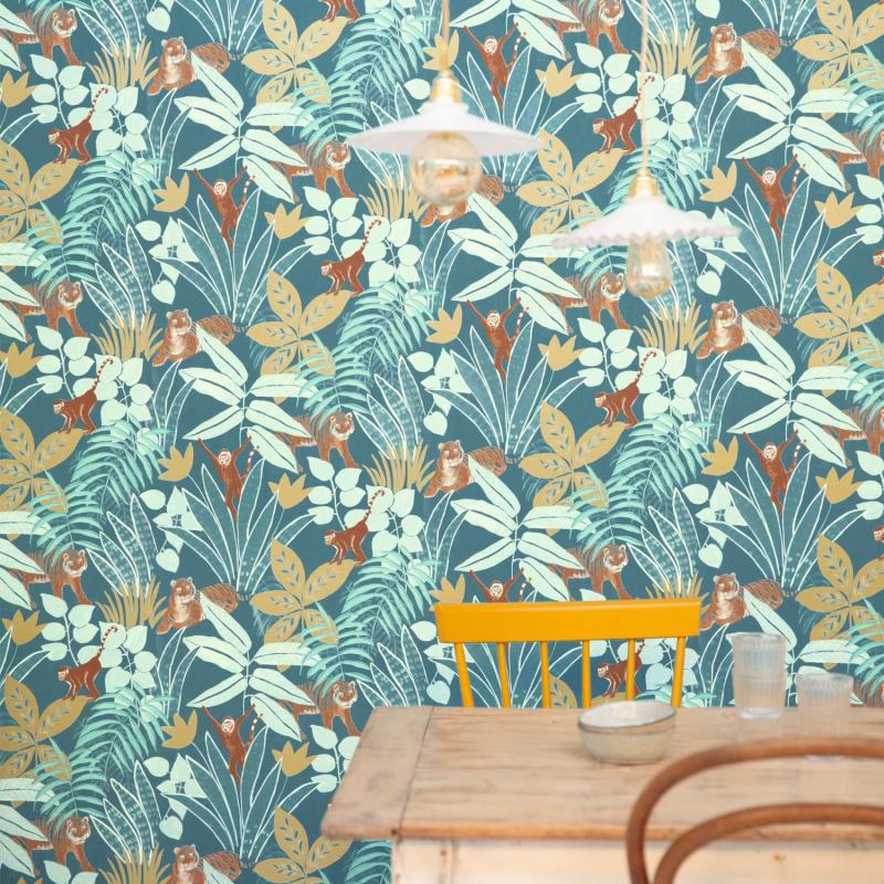 Papier peint Aventure bleu nuit doré - L'ESCAPADE - Caselio - EPA102316638