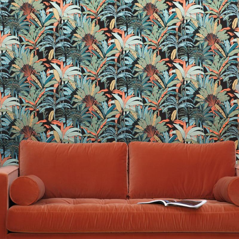 Papier peint Evasion noir vert corail - L'ESCAPADE - Caselio - EPA102307499