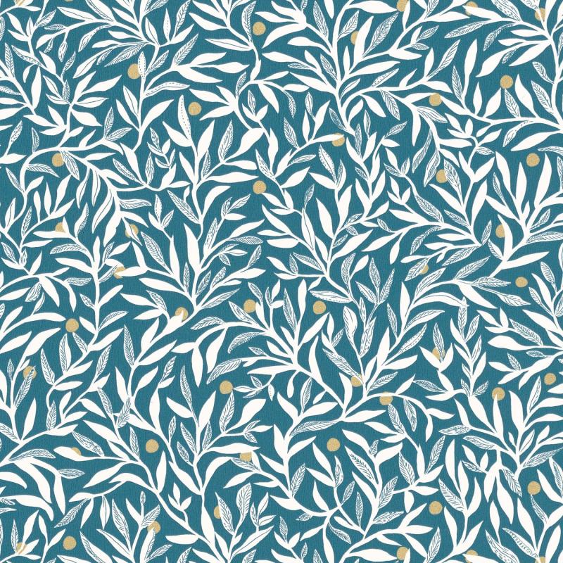 Papier peint Ballade bleu canard et doré - L'ESCAPADE - Caselio - EPA102346281