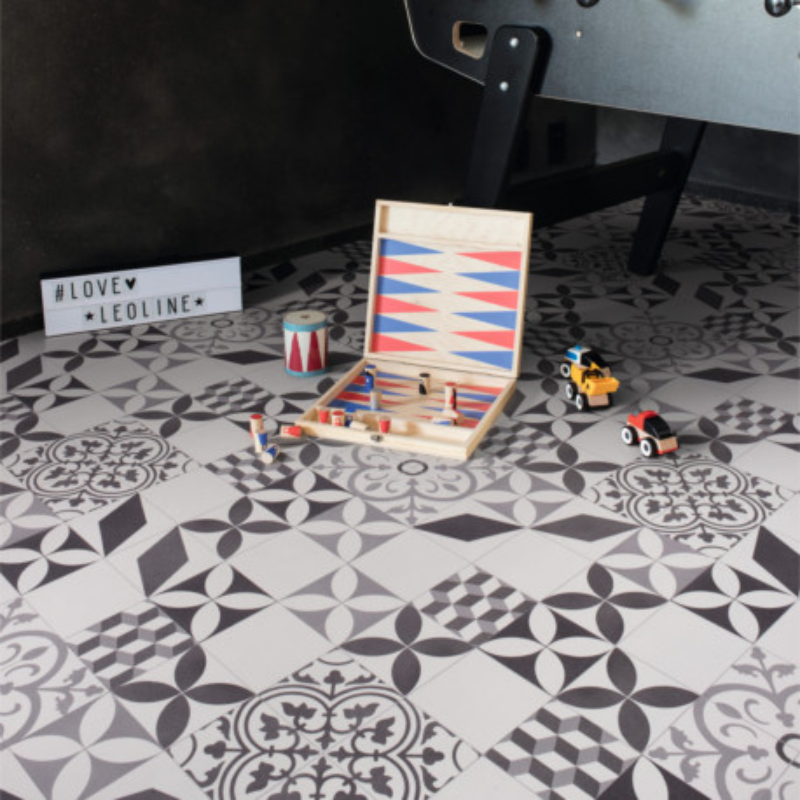 Sol PVC - Feliz 595 carreaux de ciment noir blanc gris - Bingo IVC - rouleau 4M