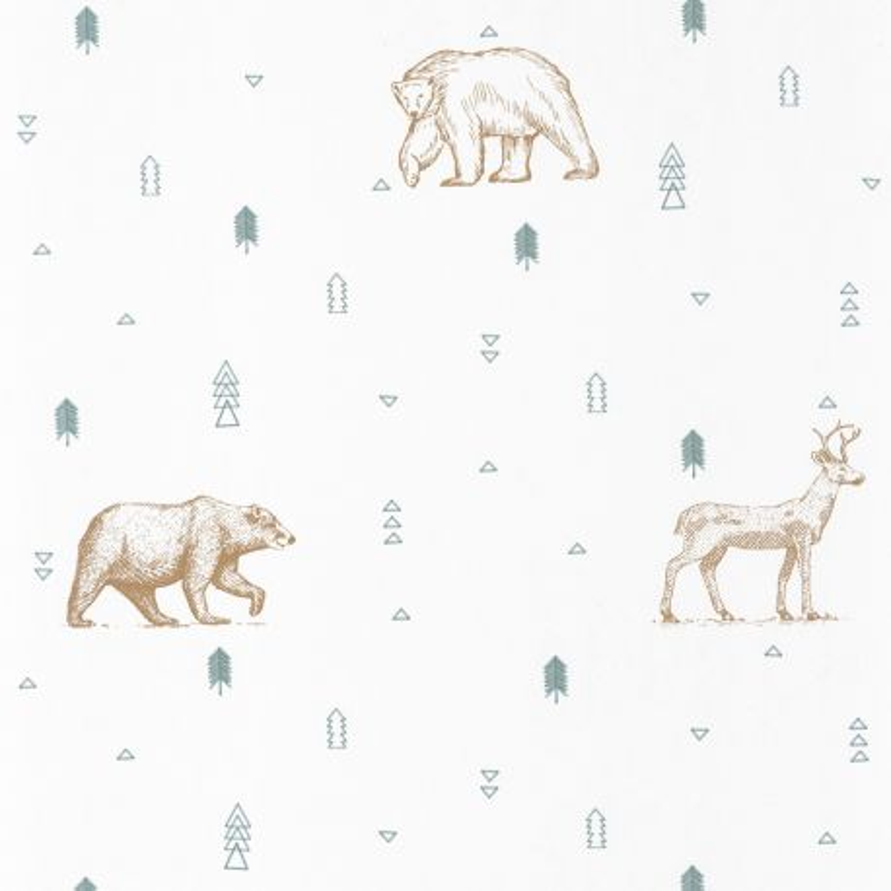 Papier peint Grizzly Bear vert d'eau et beige - OUR PLANET - Caselio - OUP101987112