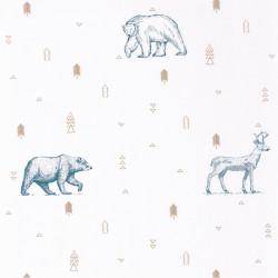 Papier peint Grizzly Bear bleu jean et beige - OUR PLANET - Caselio - OUP101986009
