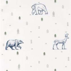 Papier peint Grizzly Bear vert kaki et bleu nuit - OUR PLANET - Caselio - OUP101987403
