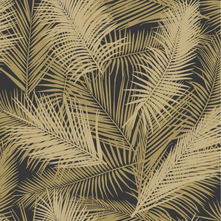 Papier peint vinyle sur intissé Palmes Retro doré, fond noir - EDEN - Ugepa - J98202