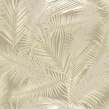 Papier peint vinyle sur intissé Palmes Retro argenté, fond beige - EDEN - Ugepa - J98207
