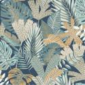 Papier peint vinyle sur intissé Foliage bleu et ocre - EDEN - Ugepa - M36901