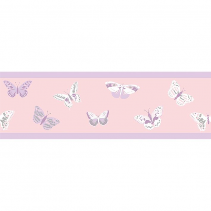Frise enfant Butterfly parme et gris - GIRL POWER - Caselio - GPR100895221