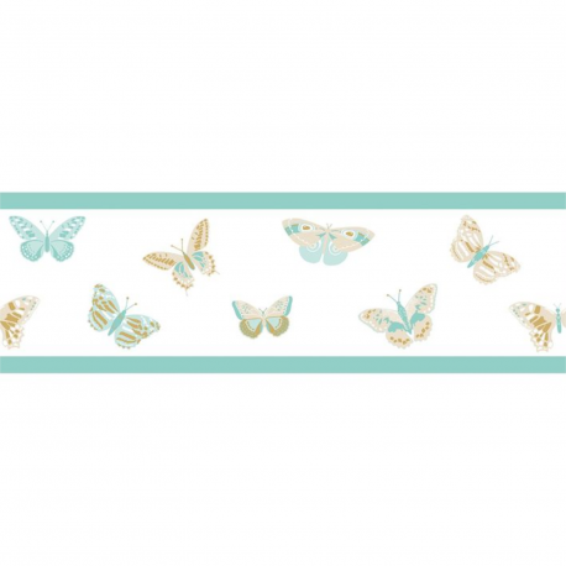 Frise enfant Butterfly bleu ciel beige doré - GIRL POWER - Caselio - GPR100896129