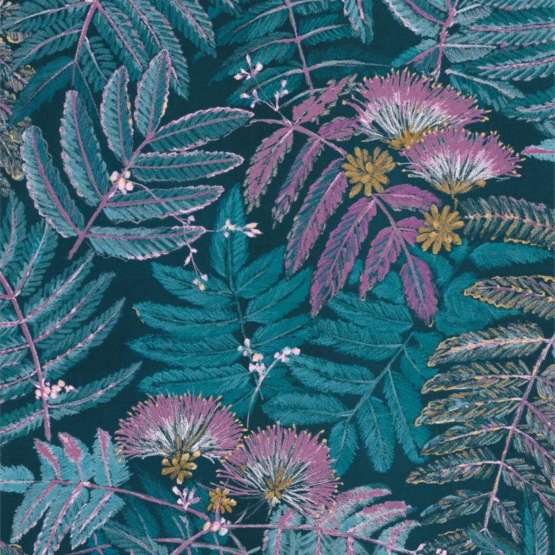 Papier peint Albizia bleu turquoise - BOTANICA - Casadeco - BOTA85896164