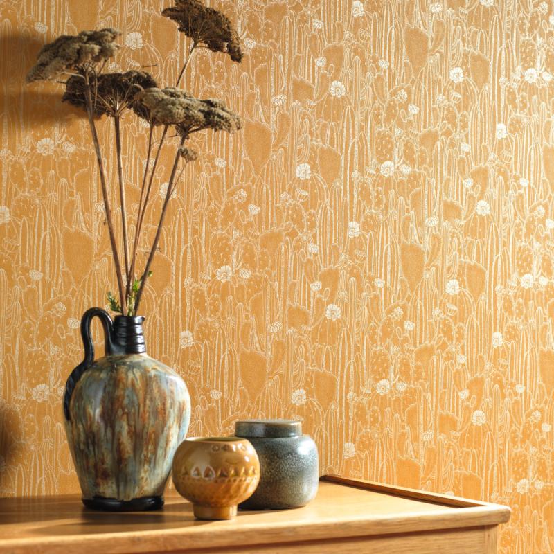 Papier peint Cactaceae jaune curry - BOTANICA - Casadeco - BOTA85922376