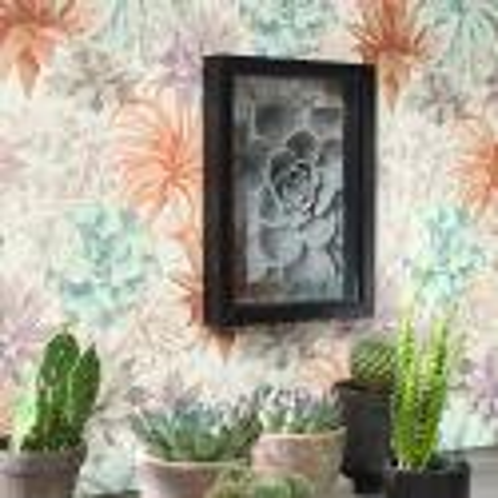 Papier peint Echeveria corail rose poudré - BOTANICA - Casadeco - BOTA85914374