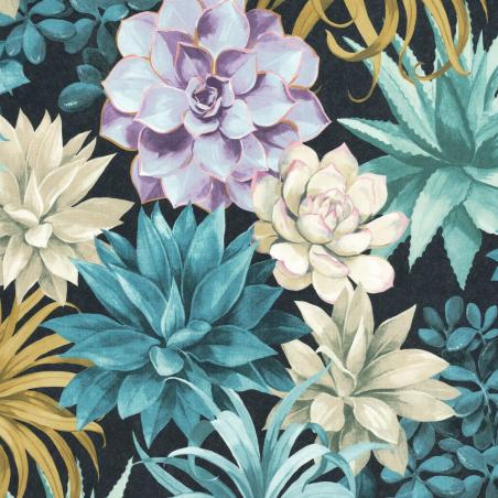 Papier peint Echeveria bleu turquoise - BOTANICA - Casadeco - BOTA85916585