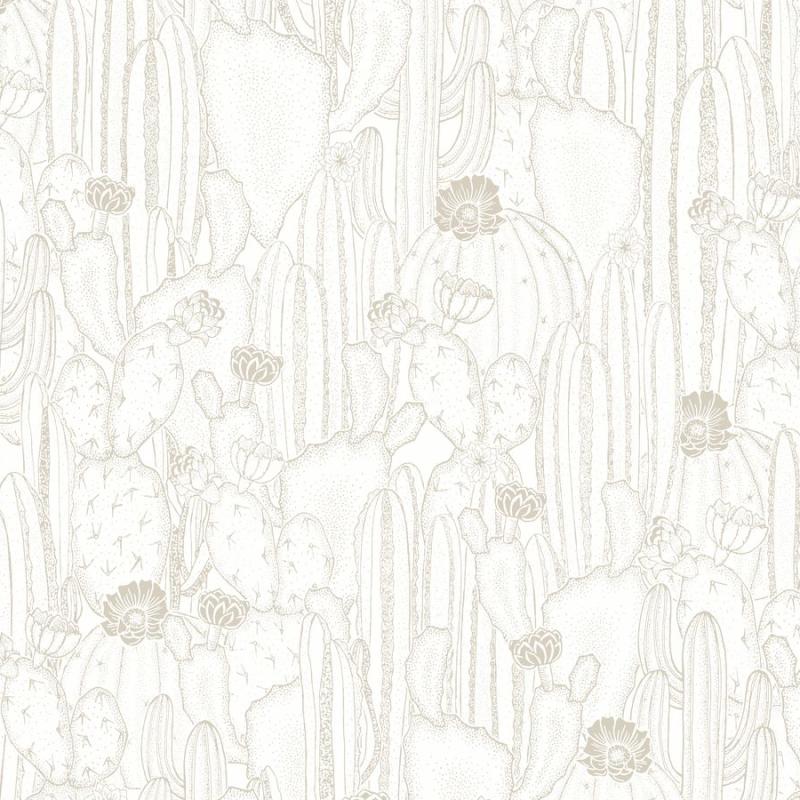 Papier peint Cactaceae blanc taupe - BOTANICA - Casadeco - BOTA85920298
