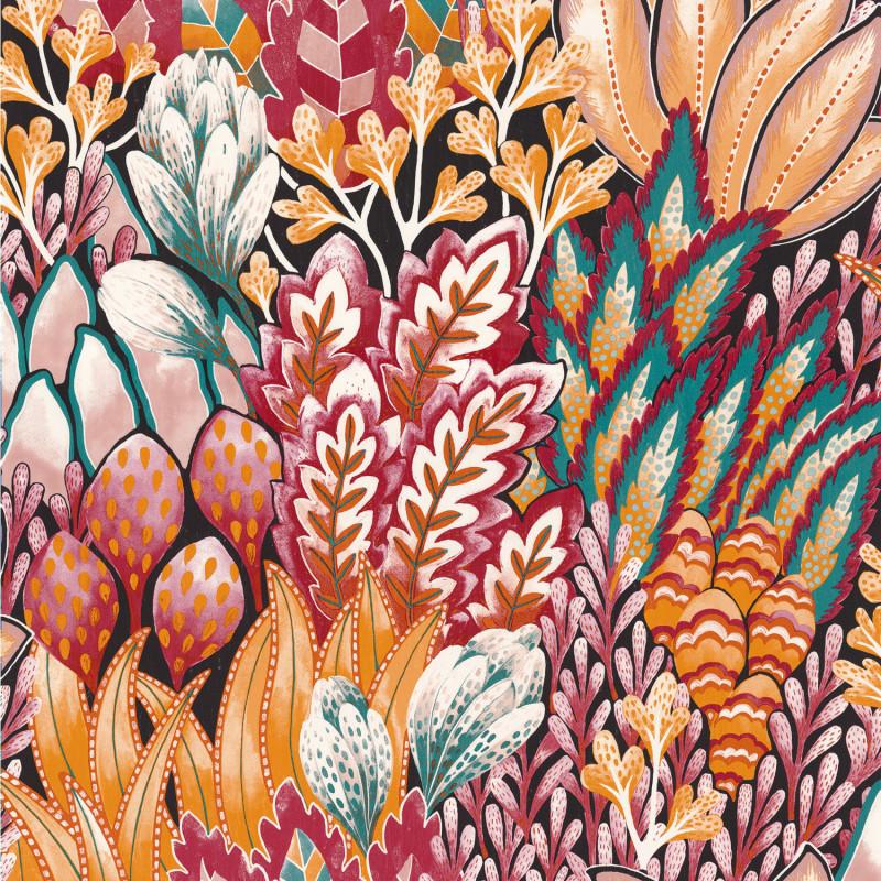 Papier peint Avicennia fuschia et ocre - KARABANE - Casamance - 75162754